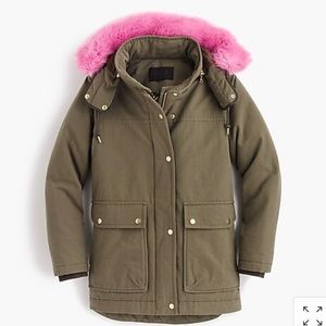 J. Crew Collection Wasabi Down Parka w/pink fur